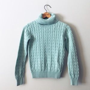Tommy Hilfiger Cable Knit Teal Turtleneck Sweater